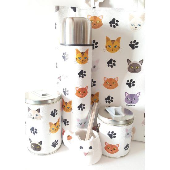 Set gatitos con mate ceramica y bolso GP Diseño 1