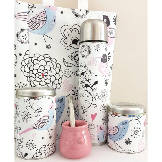 set pajaritos con mate ceramica y bolso GP Diseño