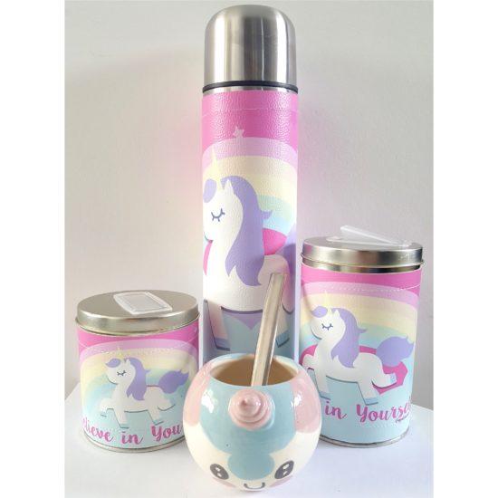 Set unicornio arcoiris con mate cerámica GP Diseño 1