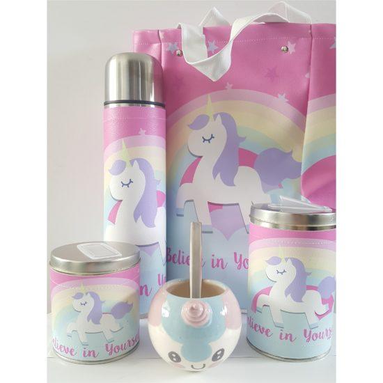 Set unicornio arcoiris con mate ceramica GP Diseño