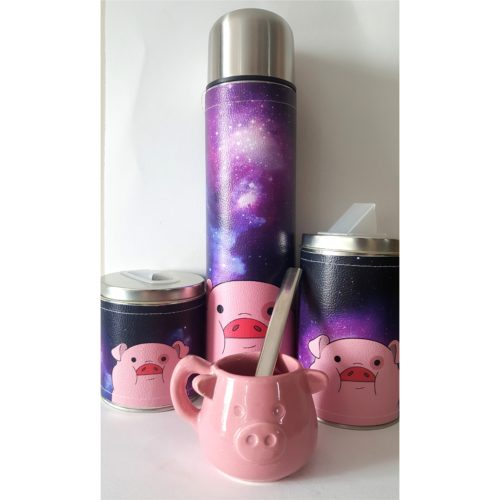 Set chanchito galaxia con mate Ceramica GP Diseño