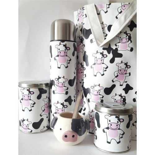 Set vaquita con mate cerámica y bolso GP Diseño
