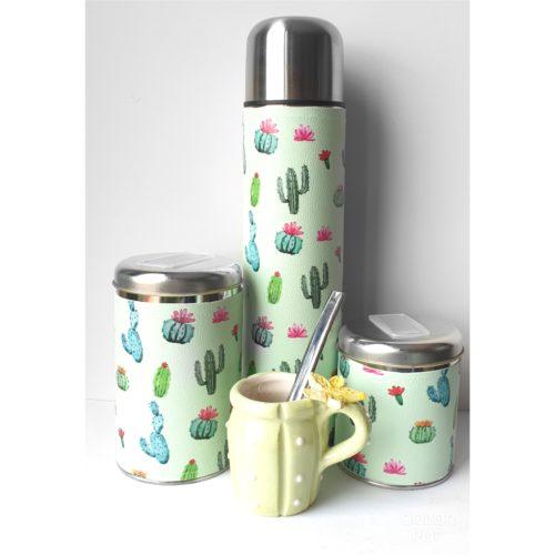 Set cactus con mate de cerámica GP Diseño