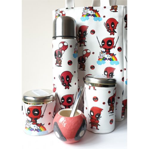 Set Deadpool c/mate cerámica y bolso GP Diseño