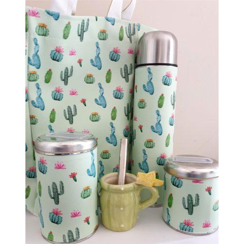Set cactus con bolso y mate cerámica GP Diseño