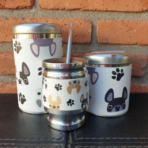 Par de latas frenchie + mate GP Diseño