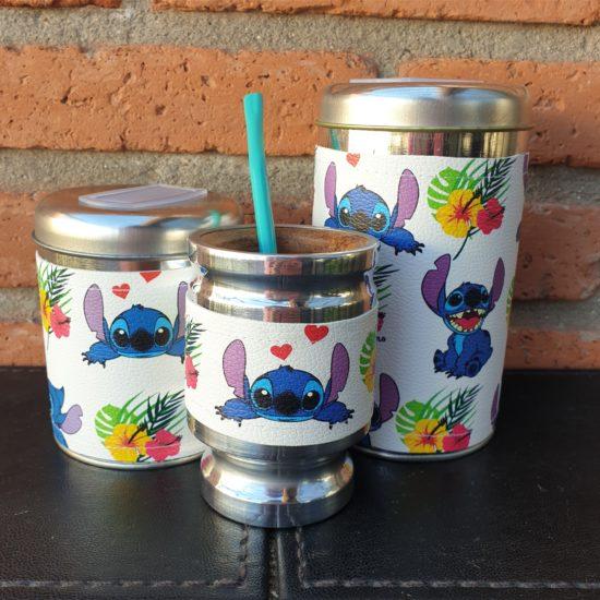 par de latas stitch con flores + mate GP Diseño