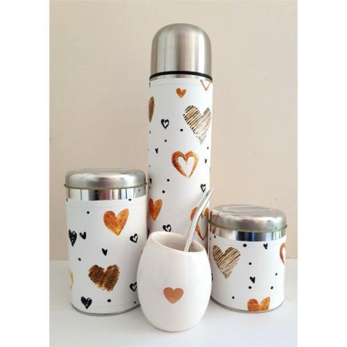 Set corazones con mate de cerámica GP Diseño