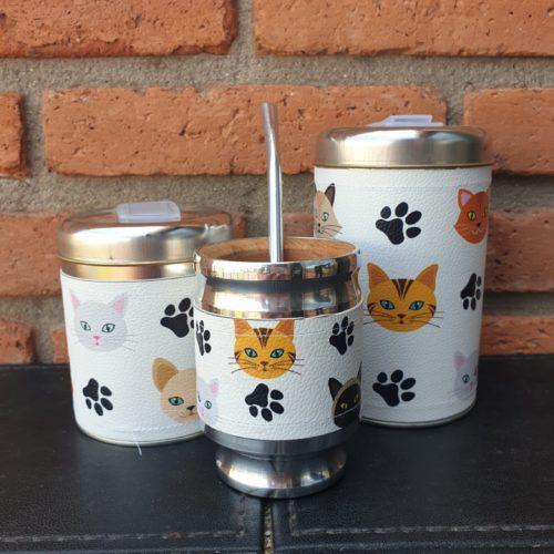 par de latas gatito + mate GP Diseño