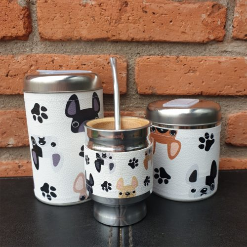 par de latas + mate Frenchies GP Diseño 1