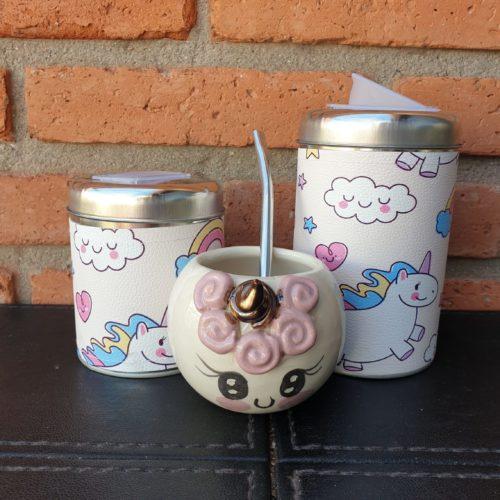 par de latas+mate unicornio ceramica beige GP Diseño